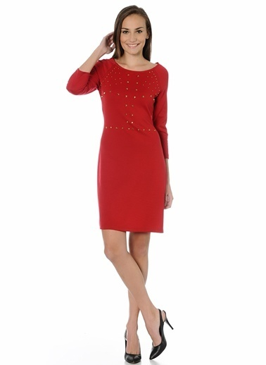 Limon Company 22Car Yosun Zımba Desenli Uzun Kollu Diz Üstü Kadın Elbise Kırmızı